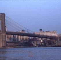 Image of [Brooklyn Bridge and Fulton Ferry Landing, taken from Manhattan] - DUMBO, Brooklyn waterfront photographs and slides