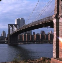 Image of [View west with new park deck and Brooklyn Bridge taken from Fulton Ferry Landing] - DUMBO, Brooklyn waterfront photographs and slides