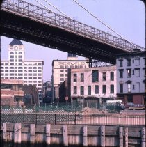 Image of [View from pier looking northeast, Fulton Ferry Landing] - DUMBO, Brooklyn waterfront photographs and slides