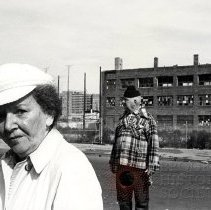 Image of [Man and woman near abandoned building] - Anders Goldfarb photographs of Coney Island