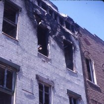 Image of [View of fire-damaged rowhouse] - 1977 Blackout Slide collection