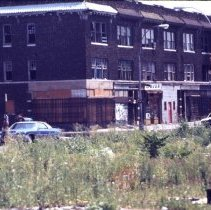 Image of [Street shot of intersection between Wilson Avenue and Linden Street] - 1977 Blackout Slide collection