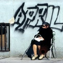 Image of [Woman and graffiti in Brighton Beach] - Lucille Fornasieri Gold photographs