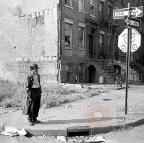 Image of [Man on Red Hook street corner] - Lucille Fornasieri Gold photographs