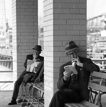 Image of [Men reading on Coney Island boardwalk] - Lucille Fornasieri Gold photographs