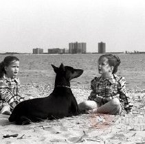 Image of [Twins with Doberman] - Lucille Fornasieri Gold photographs