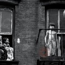 Image of [Kids on a fire escape] - Lucille Fornasieri Gold photographs