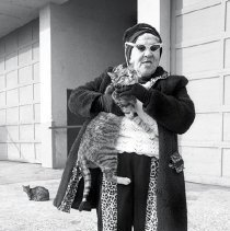 Image of [Woman and cats, Coney Island] - Lucille Fornasieri Gold photographs