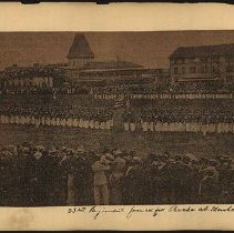Image of 23rd Regiment formed for Parade at Manhattan Beach - Eugene L. Armbruster photographs and scrapbooks