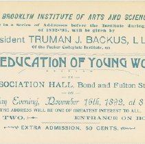 """Image of Packer Collegiate Institute records - Ticket to Truman J. Backus address on """"The Education of Young Women"""""""