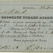 Image of Packer Collegiate Institute records - Brooklyn Female Academy tuition receipt