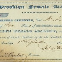 Image of Packer Collegiate Institute records - Brooklyn Female Academy stock certificate