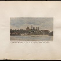 Image of The Massachusetts passing through Hell Gate - Eugene L. Armbruster photographs and scrapbooks