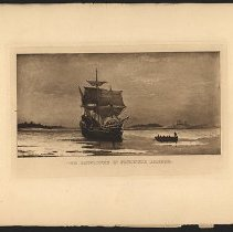 Image of The Mayflower in Plymouth Harbor - Eugene L. Armbruster photographs and scrapbooks