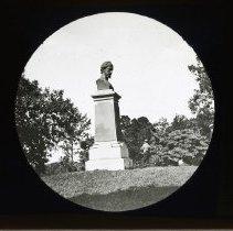 Image of [Three men at J. Howard Payne Monument, Prospect Park] - Adrian Vanderveer Martense collection