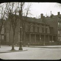 Image of Old House, corner of Lafayette Avenue and Bushwick Avenue - Ralph Irving Lloyd lantern slides