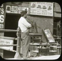 Image of Waiting for Customers - Ralph Irving Lloyd lantern slides