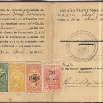 Image of Ecuadorian residence permit for Hermann Baermann