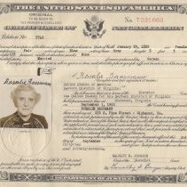 Image of Certificate of Naturalization for Rosalie Baermann