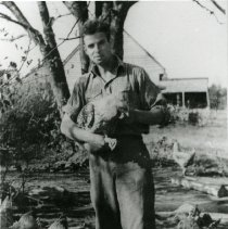 Image of Ernst Cramer With Chickens