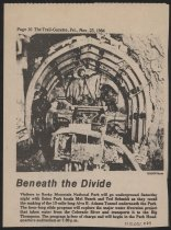 Image of Estes Park Trail-Gazette photograph of Colorado Big Thompson Project tunnel and text announcing underground tour with Mel Busch and Ted Schmidt