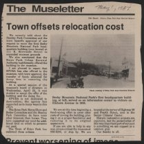 Image of Article about Estes Park Urban Renewal Authority transferring fund for the relocation of the National Park Service building.