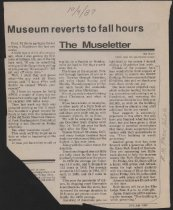 Image of Article announcing museum switching to fall hours, asking for help with the Christmas exhibit (trains), and recapping the past year.