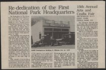 Image of Article announcing re-dedication of the National Park Service building