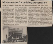 Image of Article about the Estes Park Area Historical Museum asking to move the Nationa Park Service building
