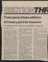 Image of Article about approval of historic park for Estes Park Area Historical Museum