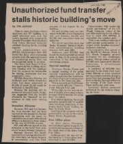 Image of Article concerning funding of moving National Park Service Building