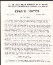 Image of Estes Park Area Historical Museum Newsletter