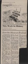 Image of Newspaper article about the origin of the Estes Park Area Historical Museum