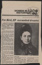 Image of Newspaper article, Women in History, written by Mel Busch