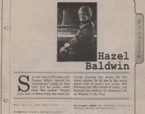 Image of Newspaper profile of Hazel Baldwin from the Trail Plus insert