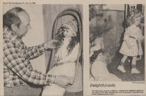 Image of Newspaper photographs of Christmas doll exhibit