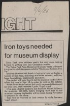 Image of Newspaper articles about the iron toy exhibit Christmas 1986