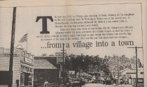 Image of Newspaper feature written by Mel Busch about early Estes Park for the 70th anniversary of the town of Estes Park