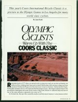 Image of Article about the 1984 Coors International Bicycle Classic and it as a preview to the Los Angeles Olympics
