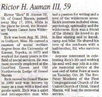 Image of Rictor Auman obituary