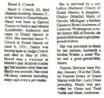 Image of Hazel Creech obituary