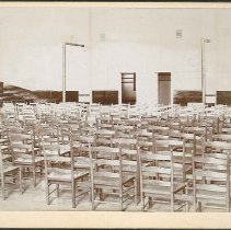 Image of [Interior of the Mount Lebanon Meetinghouse with New (circa 1887) Chairs] - Church Family, Mount Lebanon, NY