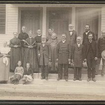 Image of Group of Shakers on Meetinghouse Steps, Mount Lebanon, NY