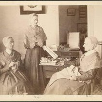 Image of [Martha Jane Anderson, Grace Bowers, and Anna White in the North Family Sewing Room] - North Family, Mount Lebanon, NY