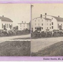 Image of Carriages Tied in Front of Meetinghouse at Mount Lebanon, NY