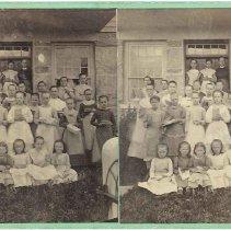 Image of Group of School Girls Outside School House (1839), Mount Lebanon, New York