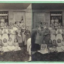Image of Group of Girls in Front of Schoolhouse