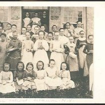 Image of [Young Scholars Posed in Front of the Mount Lebanon, NY, Church Family School] - Mount Lebanon, NY