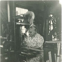 Image of [Sister Lillian Barlow in the Chair Shop] - Mount Lebanon, NY
