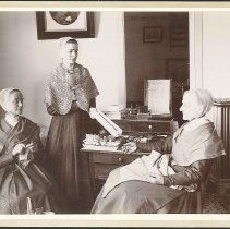 Image of Martha Jane Anderson, Grace Bowers and Anna White in the Sewing Room